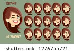 flat cartoon girl with long red ... | Shutterstock .eps vector #1276755721