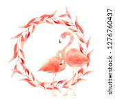 living coral flamingos in love. ... | Shutterstock . vector #1276760437
