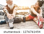 fit couple making stretching... | Shutterstock . vector #1276761454