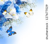 Flowers And Butterfly  Blue...