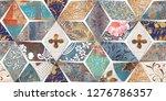 colorful digital wall tiles... | Shutterstock . vector #1276786357