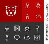 cloud icon with gift  cat and...