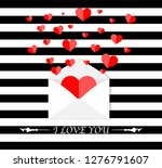 envelope with hearts inside.... | Shutterstock .eps vector #1276791607