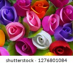 colorful roses paper background. | Shutterstock . vector #1276801084