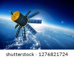 space satellite orbiting the... | Shutterstock . vector #1276821724