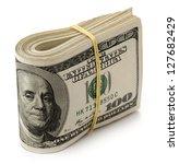 U.s. Dollars Isolated On White...