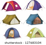 set of tourist tents   Shutterstock .eps vector #127683104