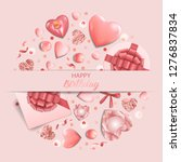 happy birthday a pink greeting... | Shutterstock .eps vector #1276837834