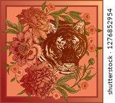 garden peonies and wild tiger.... | Shutterstock .eps vector #1276852954