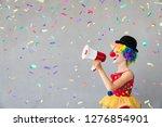 funny kid clown. happy child... | Shutterstock . vector #1276854901