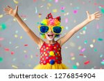 funny kid clown. happy child... | Shutterstock . vector #1276854904