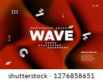 3d poster with wave stripes.... | Shutterstock .eps vector #1276858651
