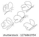 set of butterflies  sketch in... | Shutterstock .eps vector #1276861954