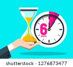 six 6 minutes time symbol.... | Shutterstock .eps vector #1276873477