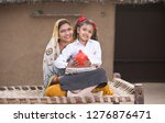 rural mother with daughter...   Shutterstock . vector #1276876471