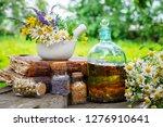 mortar of healing herbs ... | Shutterstock . vector #1276910641