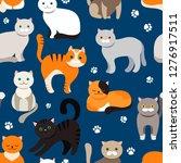 cat background  seamless...   Shutterstock .eps vector #1276917511