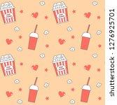 cute lovely cartoon seamless... | Shutterstock .eps vector #1276925701