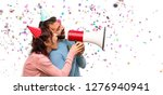 couple with birthday hats and... | Shutterstock . vector #1276940941