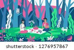 cute couple having lunch on the ... | Shutterstock .eps vector #1276957867