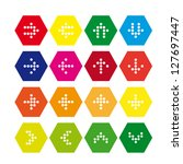 set of hexagonal icons with...