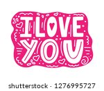 i love you unique hand drawn... | Shutterstock .eps vector #1276995727