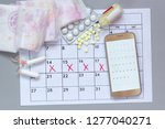 calendar with marks of... | Shutterstock . vector #1277040271