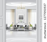 luxury living room interior... | Shutterstock .eps vector #1277053537