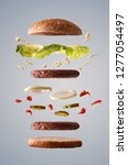 double hamburger with lettuce... | Shutterstock . vector #1277054497