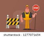 funny builder holding stop sign.... | Shutterstock .eps vector #1277071654