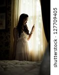 asean girl standing in in front ... | Shutterstock . vector #127709405