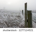 Fence In Winterfield And Fog