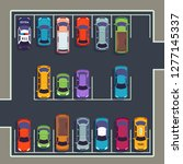 parking top view. many cars on... | Shutterstock .eps vector #1277145337