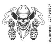 vintage cowboy skull in neck... | Shutterstock .eps vector #1277145907