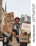 group of young female activist... | Shutterstock . vector #1277147137