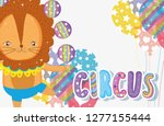 lion doing juggle with balls... | Shutterstock .eps vector #1277155444