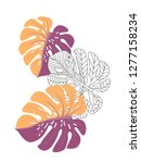 vector tropical pattern with... | Shutterstock .eps vector #1277158234
