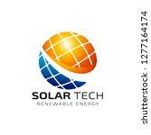 sun solar energy logo design... | Shutterstock .eps vector #1277164174