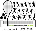 Tennis Players Silhouettes  ...