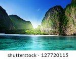 Stock photo morning time at maya bay phi phi leh island thailand 127720115