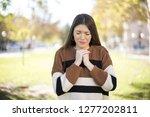 beautiful sad caucasian girl....   Shutterstock . vector #1277202811