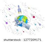 communication satellite flying... | Shutterstock .eps vector #1277209171