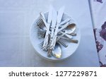 clean dishes on restaurant... | Shutterstock . vector #1277229871