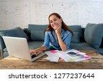 happy attractive housewife... | Shutterstock . vector #1277237644