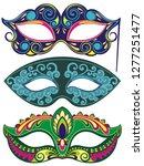venetian painted carnival face...   Shutterstock .eps vector #1277251477