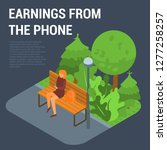 earnings from the phone concept ... | Shutterstock .eps vector #1277258257