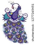 cute bird. fantasy peacock   Shutterstock .eps vector #1277265451
