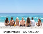 group of teenagers sitting on... | Shutterstock . vector #1277269654
