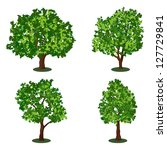 set of abstract trees. raster... | Shutterstock . vector #127729841