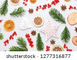 christmas composition. gifts ... | Shutterstock . vector #1277316877